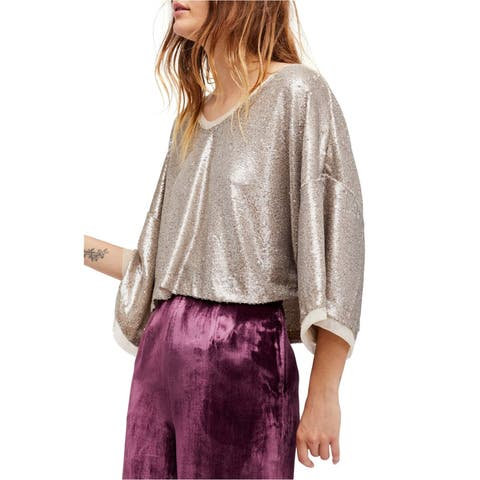 Free People Womens Champagne Dreams Knit Blouse