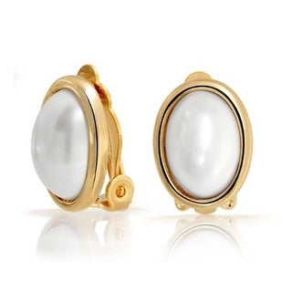 Bling Jewelry Oval White Imitation Pearl Clip On Earrings Gold Plated Brass