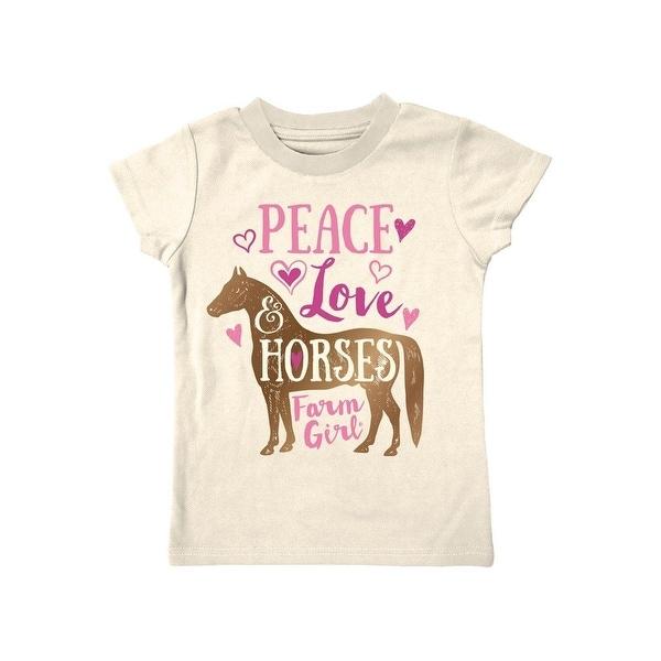 Farm Girl Western Shirt Girls Peace Love & Horses S/S Ivory