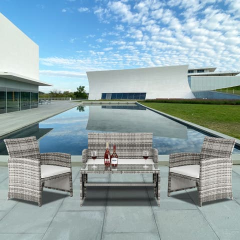 4pcs Outdoor Patio Set with 1 Double Seat 2 Single Seat 1 Coffee Table