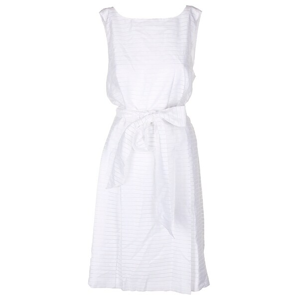 Shop Anne Klein Plus Size White Shadow Stripe Fit Flare