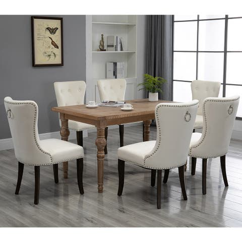 Dining Chair Tufted Armless Chair Upholstered Accent Chair, Set of 6