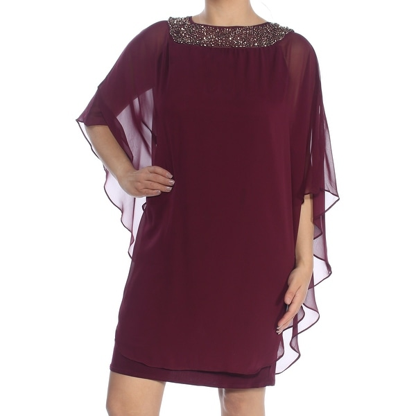 40fb6cded855 Shop XSCAPE Womens Purple Embellished Chiffon Cape Overlay Sleeveless Boat  Neck Above The Knee Shift Cocktail Dress Size: 4 - Free Shipping On Orders  Over ...