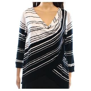 INC NEW Black Striped Women's Size Large L Cowl Neck Sweater Cotton