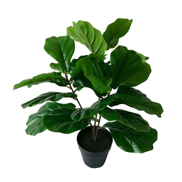 """23.5"""" Green and Black Botanical Faux Round Potted Fiddle Leaf Tree - N/A"""