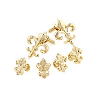 Goldtone Fleur de Lis Formal Tuxedo Cufflinks and Studs Set