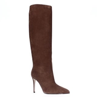 GUCCI 353693 Pointed Toe Pull On Knee High Dress Boots - Nut Brown