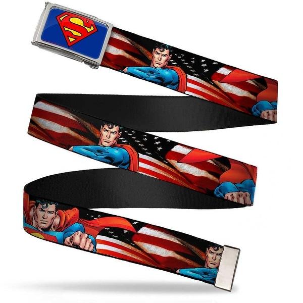 Superman Fcg Blue Chrome Superman Poses American Flag Webbing Web Belt