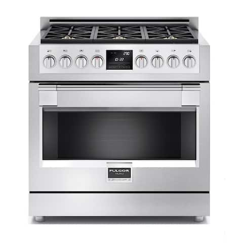 """Fulgor Milano F6PDF366 36"""" Wide 4.9 Cu. Ft. Dual Fuel Range with 6 Dual Flame Burners - Pro Stainless"""