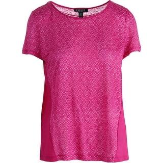 Ralph Lauren Womens Petites Linen Printed Pullover Top - pm