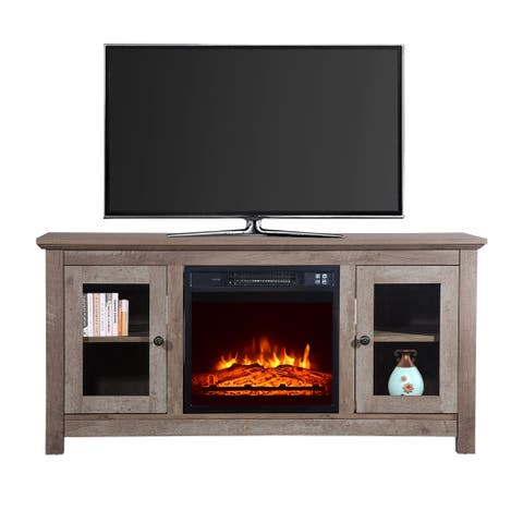 ZOKOP 51 Inch Log Cyan Fireplace TV Cabinet 1400W Single Color/Fake Wood/Heating Wire/With Small Remote Control Movement-Black