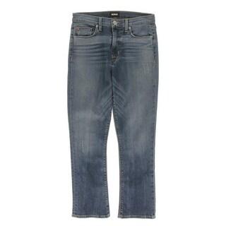 Hudson Womens Straight Crop Jeans High Rise Medium Wash