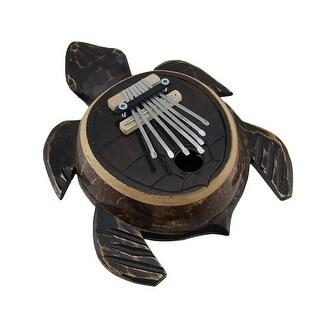 Hand Carved Wood and Coconut Shell Sea Turtle Thumb Piano Karimba