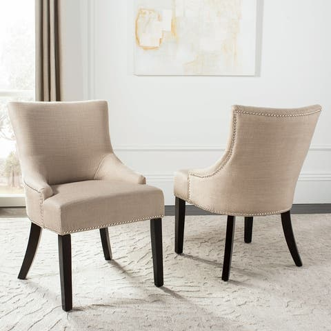 "Safavieh En Vogue Dining Loire Linen Nailhead Espresso Dining Chairs (Set of 2) - 21.7"" W x 25.2"" L x 34.6"" H"