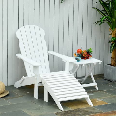 Outsunny 3 Piece Patio Furniture Set Adirondack Chair with Ottoman a Table Folding Design, White