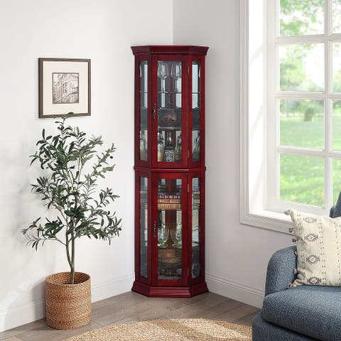 BELLEZE Lorona Floor Standing 5 Sided Corner Curio Cabinet, Cherry - standard