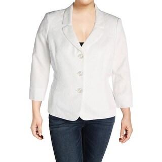 Le Suit Womens Isola Bella Three-Button Blazer Jacquard Textured
