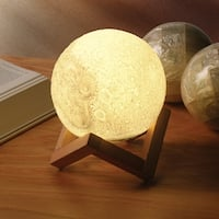 Moon Accent Lamp With Wood Base - Realistic Design Indoor Lighting - MultiColor