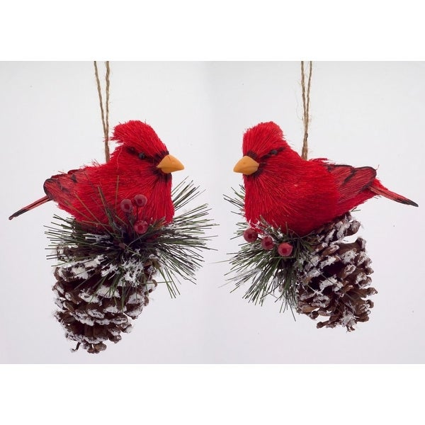 Pack of 8 Country Rustic Cardinal on Pine Cone Ornaments 6""