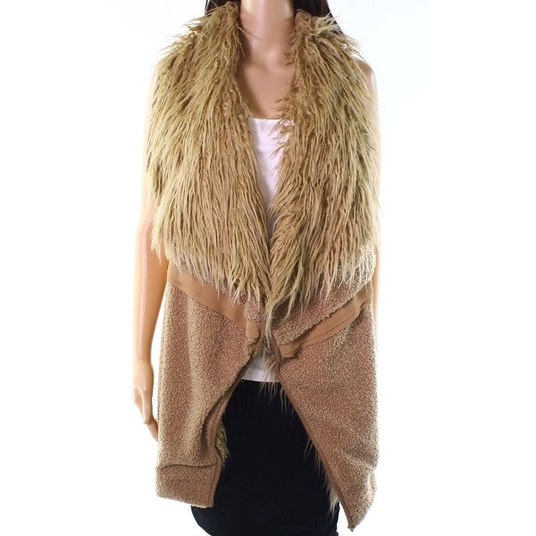 OneTheLand Camel Brown Womens Size Medium M Faux Fur Vest Jacket