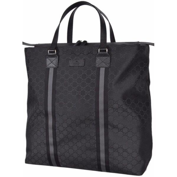 e06c3da9641 Gucci 449179 Black Nylon GG Guccissima Web Trim XL Zip Close Tote Purse Bag  - 17