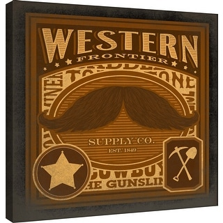 """PTM Images 9-100046  PTM Canvas Collection 12"""" x 12"""" - """"Mustache Western"""" Giclee Text and Symbols Art Print on Canvas"""