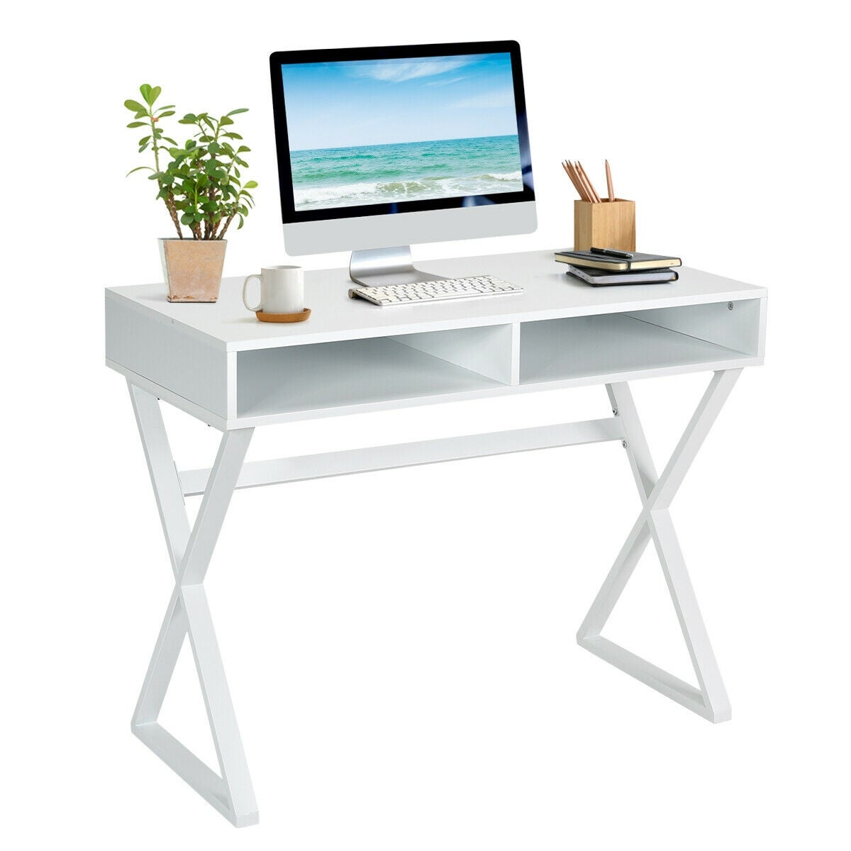 Gymax Modern Computer Desk Writing Makeup Vanity Table Storage