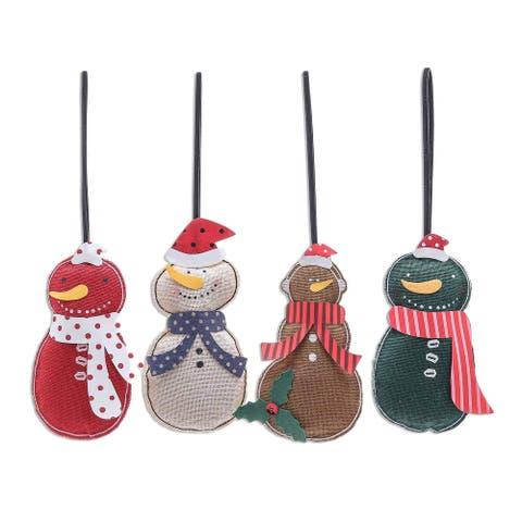 Novica Handmade Snowmen Cotton Ornaments (Set Of 4)