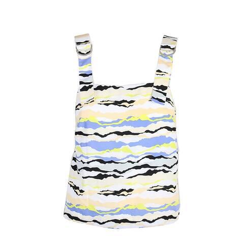 Kensie Yellow Multi Horizon Lines Printed Buckle Tank Top S