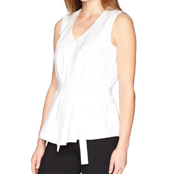 b69eecf26e0bb6 Shop Ellen Tracy White Womens Size Large L V-Neck Belted Poplin ...