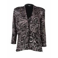 Onyx Nite Women's 2PC Paisley Glittered Twinset - Black/Rose