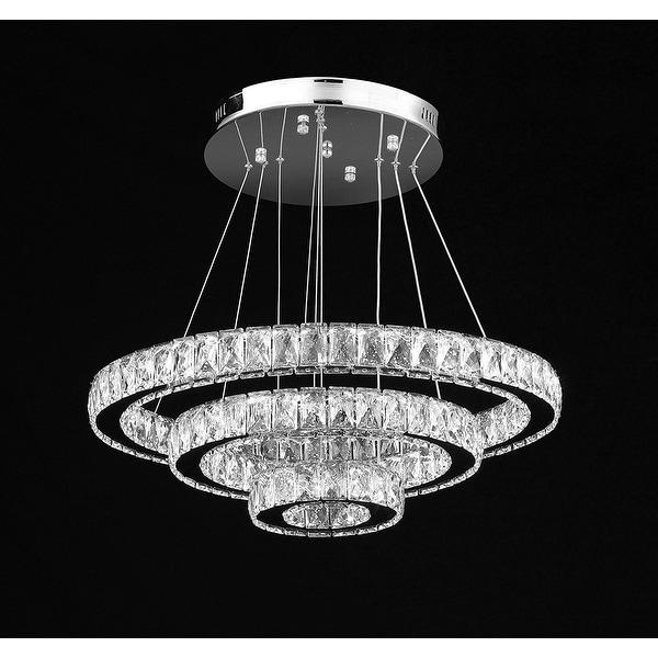 Led 3 Ring Chandelier: Shop Crystal Elipse 3 Ring Chandelier LED Modern
