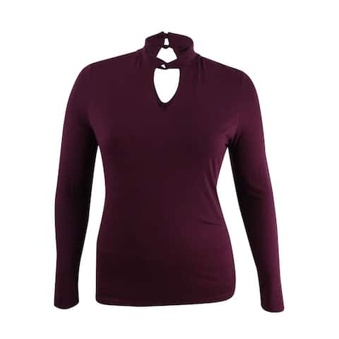 INC Women's Cutout Twist Mock-Neck Sweater (L, Port) - L