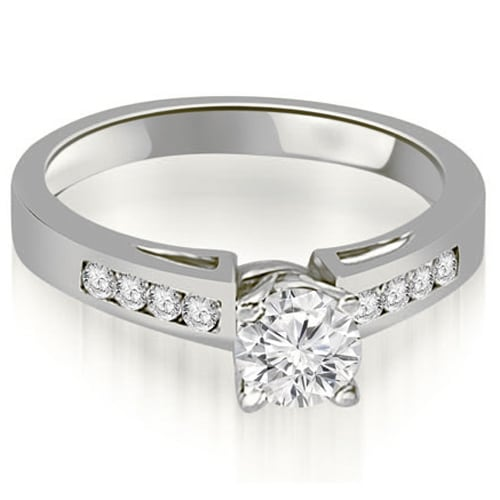 0.70 cttw. 14K White Gold Channel Set Round Cut Diamond Engagement Ring