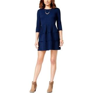 City Studio Womens Juniors Party Dress Tectured 3/4 Sleeve