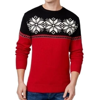 Weatherproof NEW Red Black Men Size Medium M Snowflake Crewneck Sweater