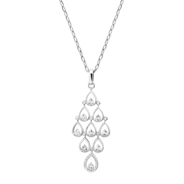 Chandelier Pendant with Diamonds in Sterling Silver