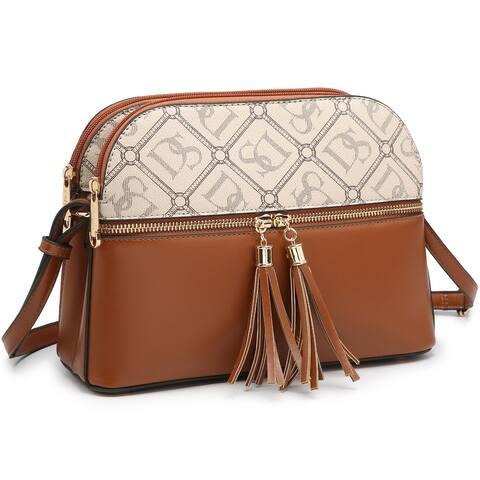 Dasein Women Tassel Zipper Pocket Crossbody Bag Shoulder Purse Fashionwith Multi Pockets