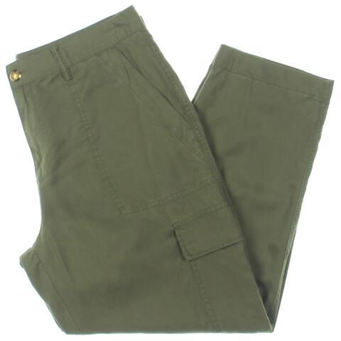 Lauren Ralph Lauren Womens Petites Banssen Straight Leg Pants Tencel High-Rise - Olive - 12P