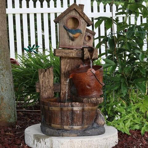 Sunnydaze Bluebird House and Buckets Outdoor Garden Water Fountain - 26-Inch
