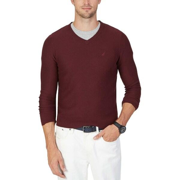 578652d6427506 Nautica Mens Pima Cotton Blend Textured V-Neck Sweater X-Large XL Burgundy