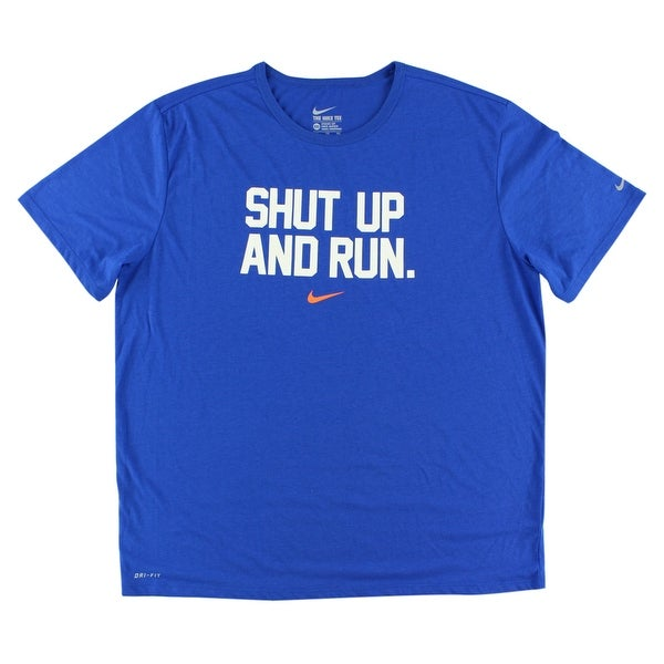 8ad465357 Shop Nike Mens Shut Up and Run Dri Fit Running Shirt Royal Blue - royal  blue/white/orange - XxL - Free Shipping On Orders Over $45 - Overstock -  22614034