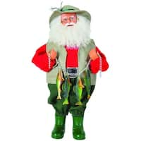 """15"""" Outdoorsman Prized Catch Fisherman Santa Claus Christmas Table Top Figure - Red"""