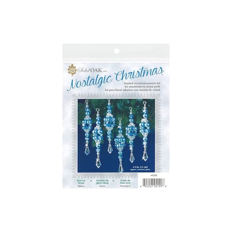 Nc022 solid oak kit beaded ornament blue ice drops