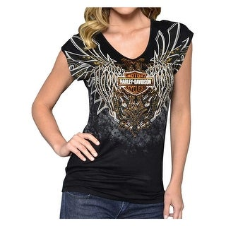 Harley-Davidson Women's Blade To The Bone Embellished Short Sleeve Tee, Black