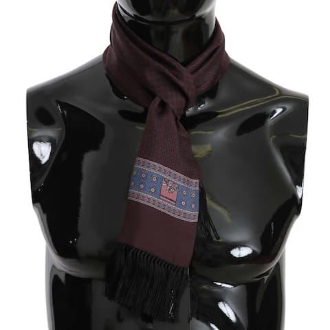 Dolce & Gabbana Purple Baroque Silk Tassel Mens Men's Scarf - one-size