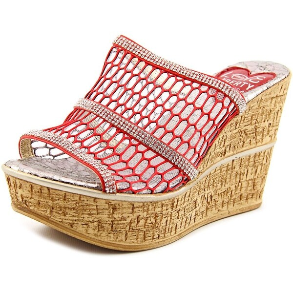 Love and Liberty Naples Women Open Toe Synthetic Red Wedge Sandal