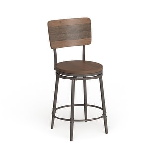 "Link to Carbon Loft Roxie Distressed Walnut Swivel Counter Stool - 42H x 21.5W x 21.5D with 26"" Seat Height Similar Items in Dining Room & Bar Furniture"
