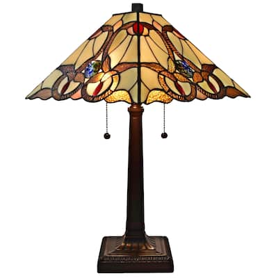 """Tiffany Style Table Lamp Mission 23"""" Tall Stained Glass Tan Decor Night Stand Bedroom Handmade Gift AM341TL14 Amora Lighting"""