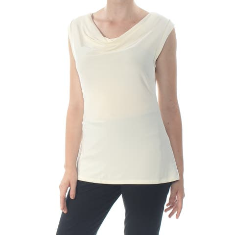 DKNY Womens Ivory Cap Sleeve Cowl Neck Top Size M
